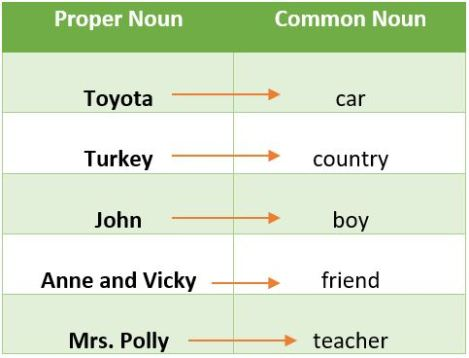 Proper noun and common noun