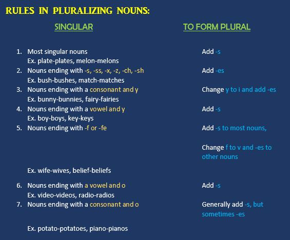 Rules in Pluralizing Nouns